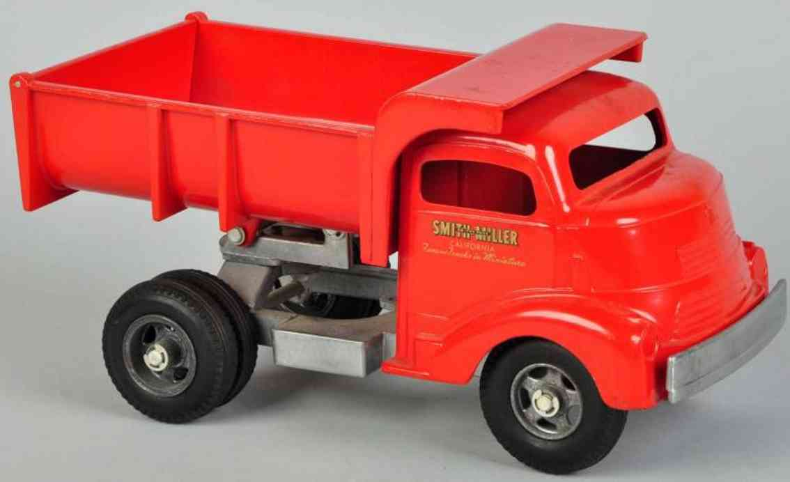 smith-miller pressed steel toy truck dump truck red ratchet gear