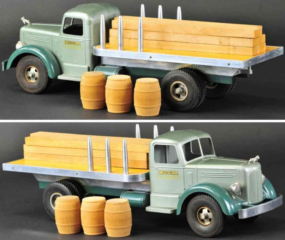smith-miller blech spielzeug l-mack material-lastwagen gruen
