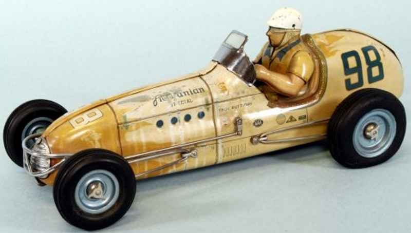 sonya toys co tin toy race car agajanian special, lithographed tin, features seated driver