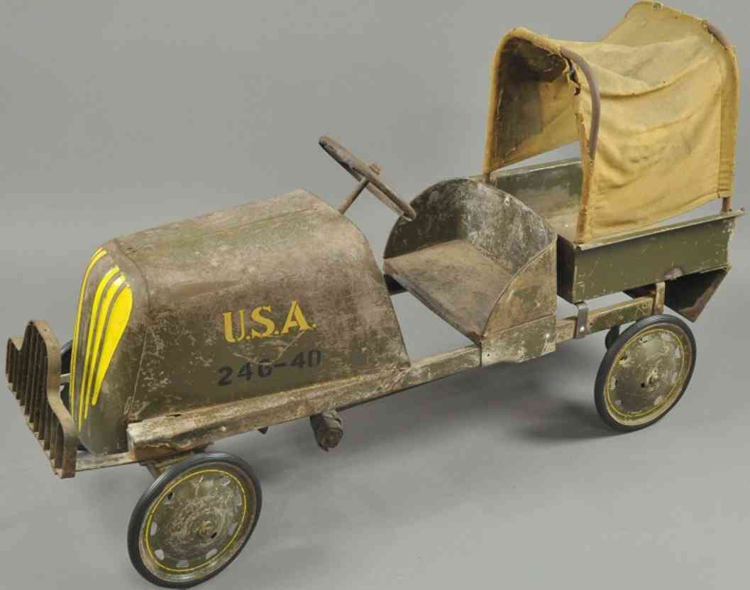 steelcraft 264-40 toy u.s.a. army pedal truck pressed steel olive