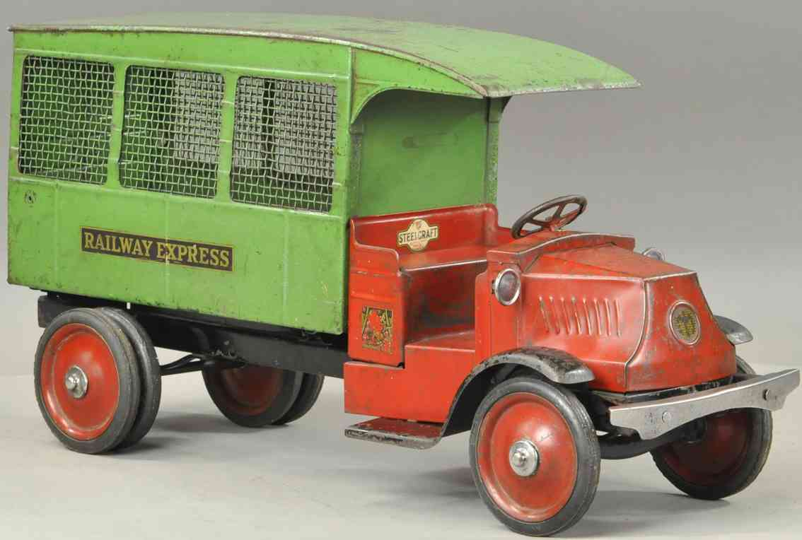 steelcraft tin toy railway express truck red green