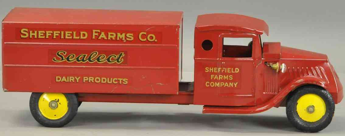steelcraft sheffield farms blech spielzeug milchlastwagen rot