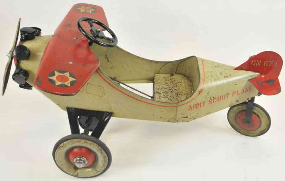 steelcraft pressed steel toy army scout pedal plane