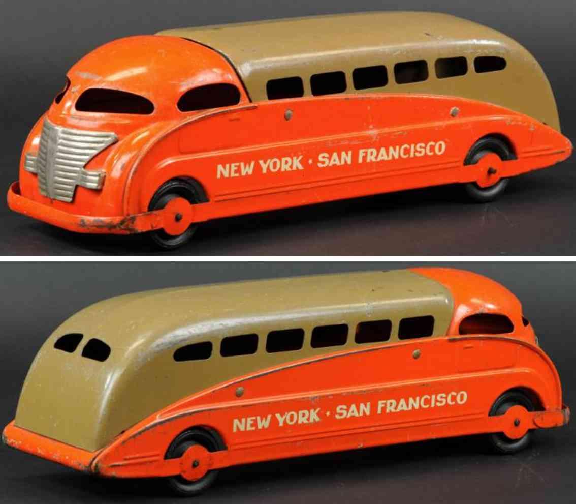 steelcraft stahlblech spielzeug autobus braun orange