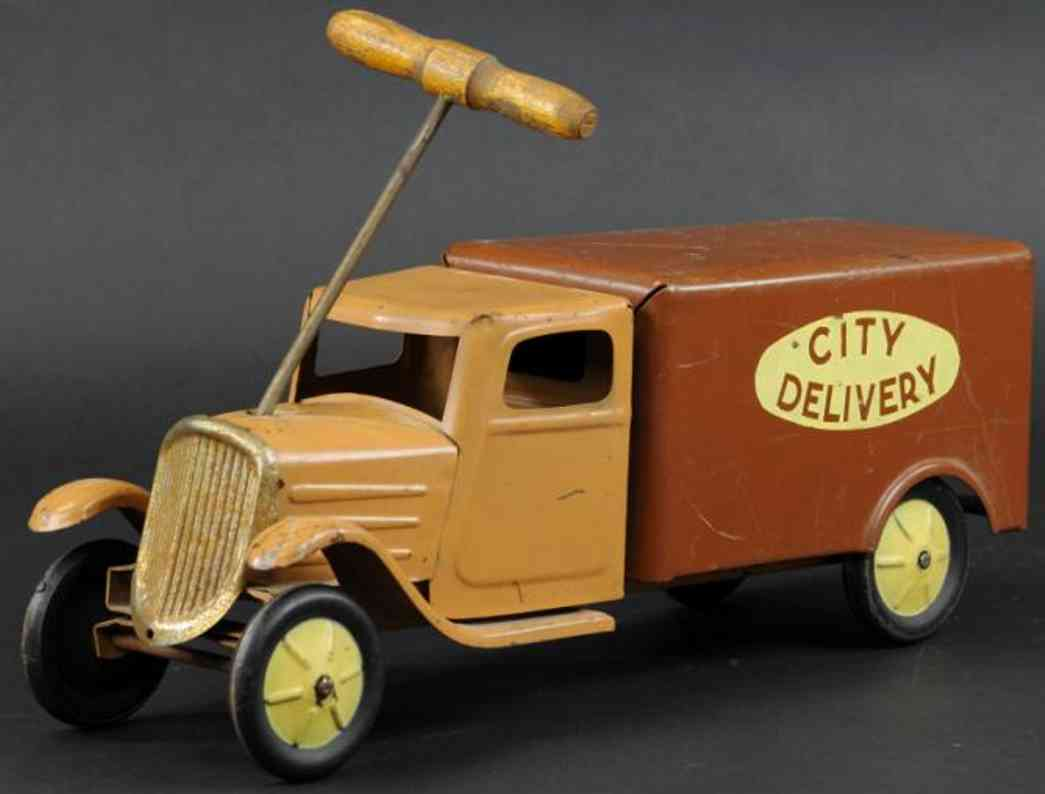 steelcraft pressed steel toy delivery truck brown