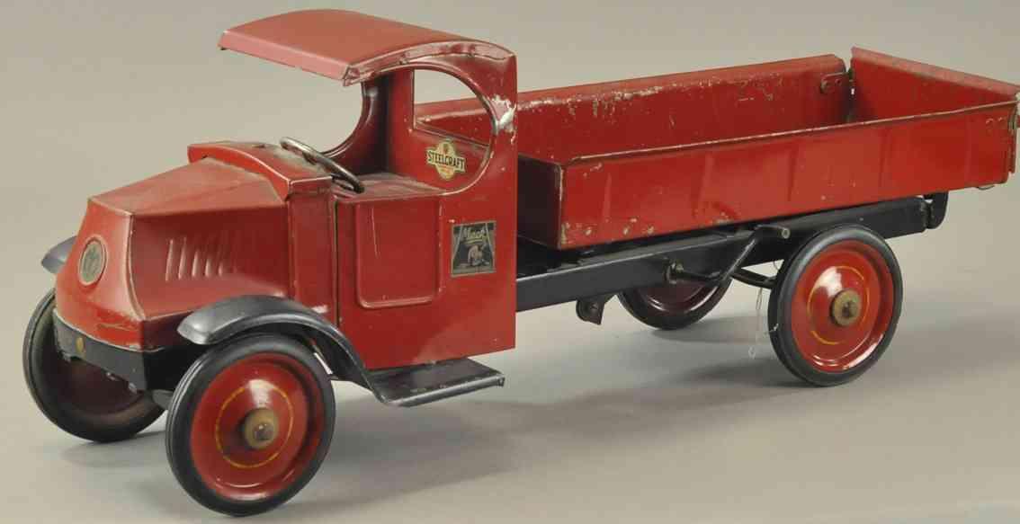 steelcraft tin toy mack dump truck red
