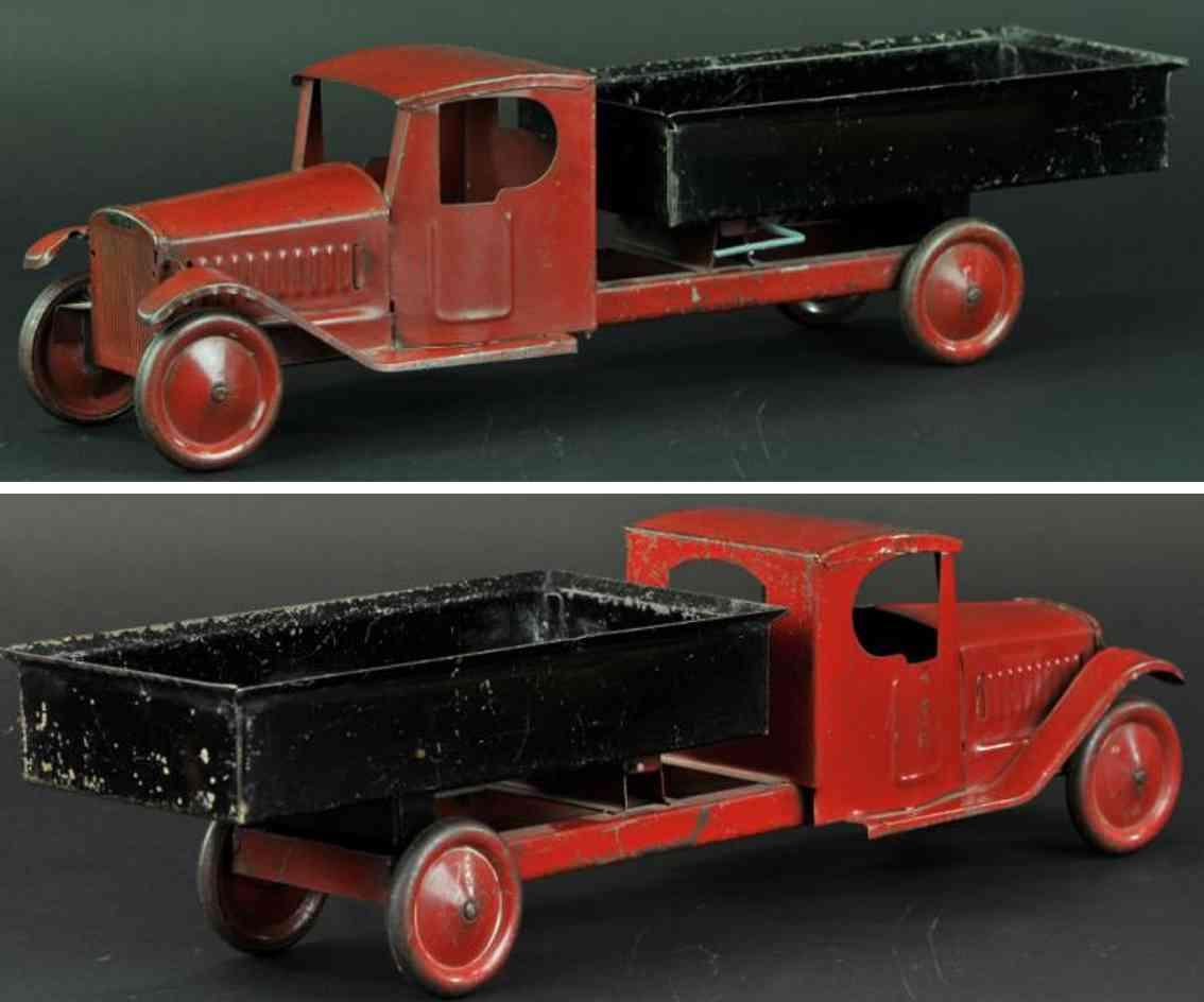 steelcraft tin toy dump truck red black