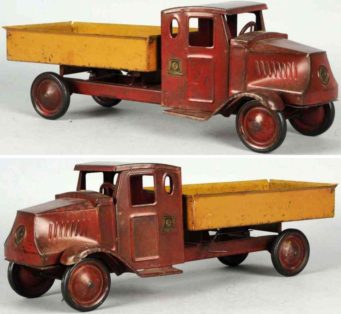 steelcraft pressed steel dump truck toy red yellow