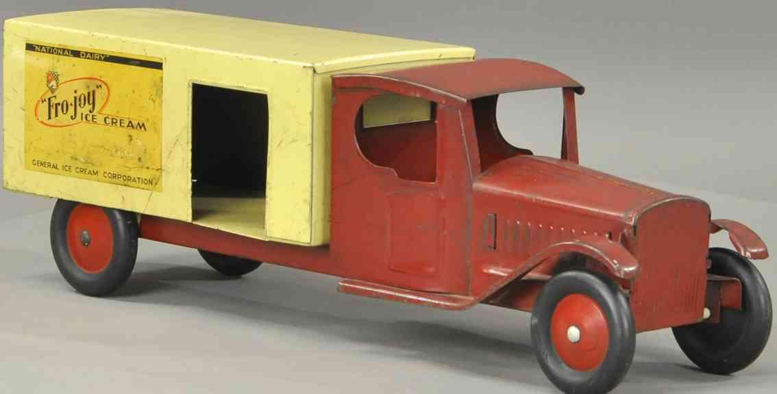 steelcraft fro joy ice cream blech spielzeug lastwagen rot gelb