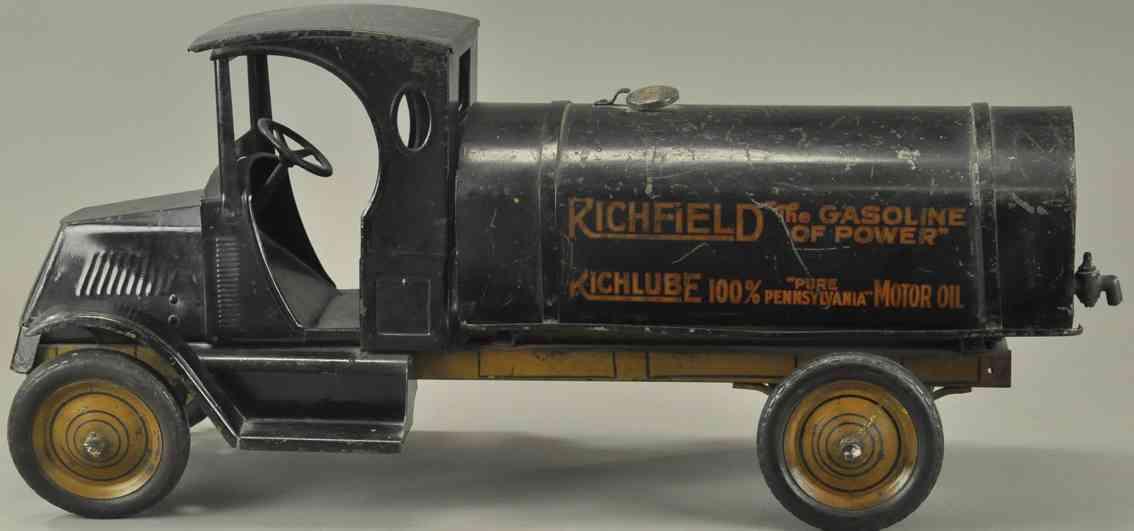 steelcraft stahlblech spielzeug tanklastwagen richfield schwarz