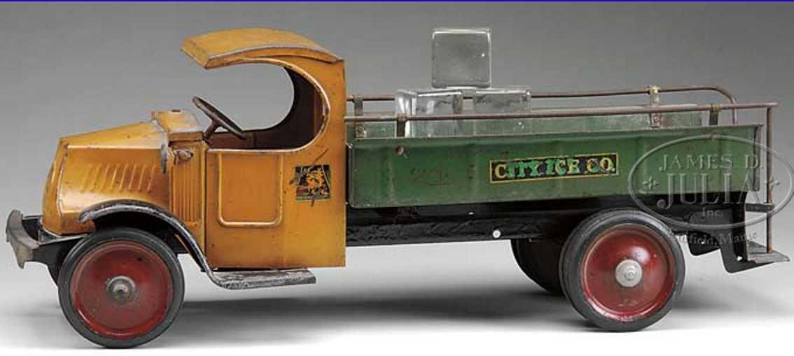 steelcraft blech spielzeug luxus eiswagen oragne gruen