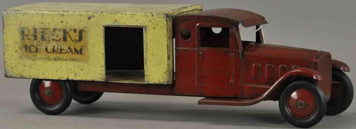 steelcraft blech spielzeug eislastwagen rot gelb