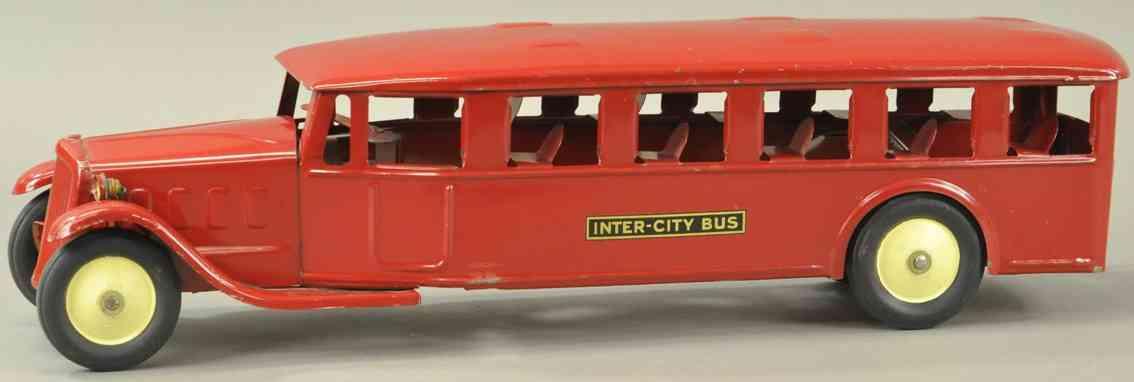 steelcraft stahlblech spielzeug autobus inter-city bus rot