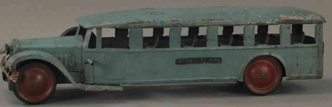 steelcraft pressed steel toy inter-city bus blue