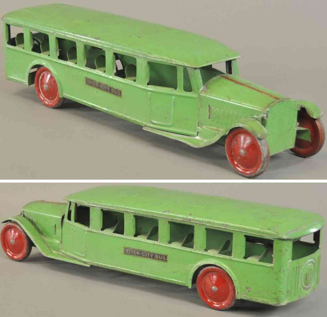steelcraft stahlblech spielzeug autobus inter-city bus gruen