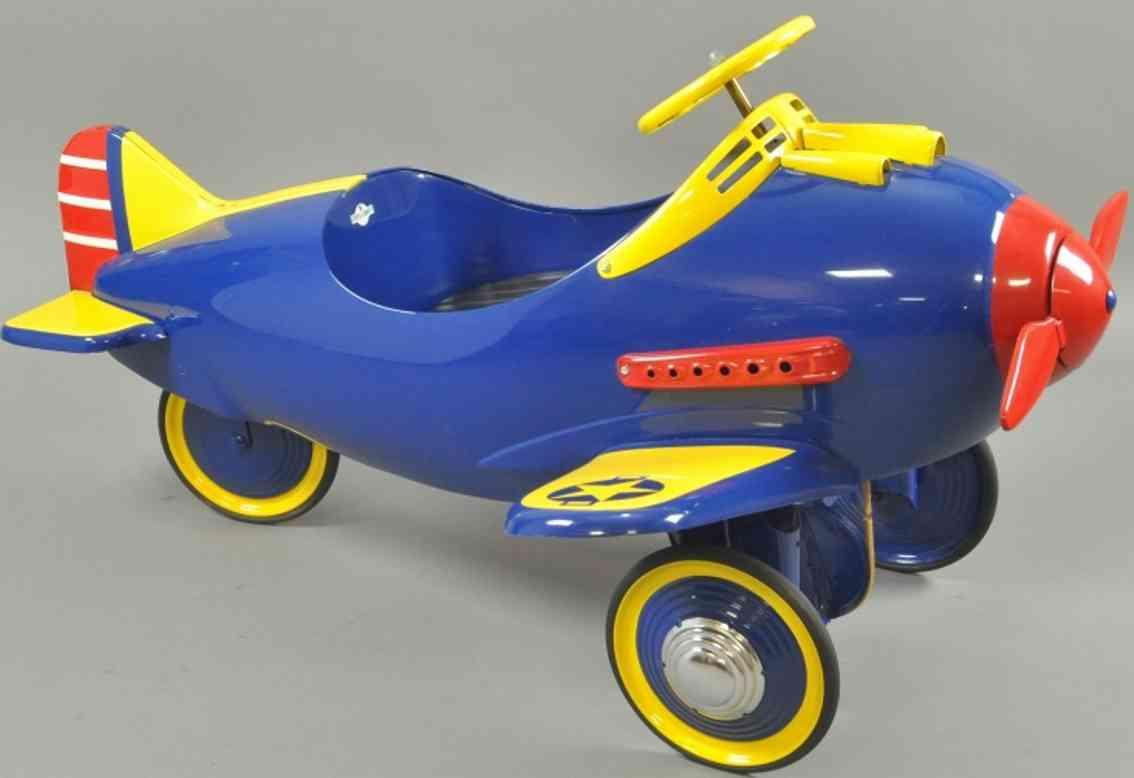 steelcraft spielzeug jagdflugzeug tretflugzeug stahlblech blau gelb