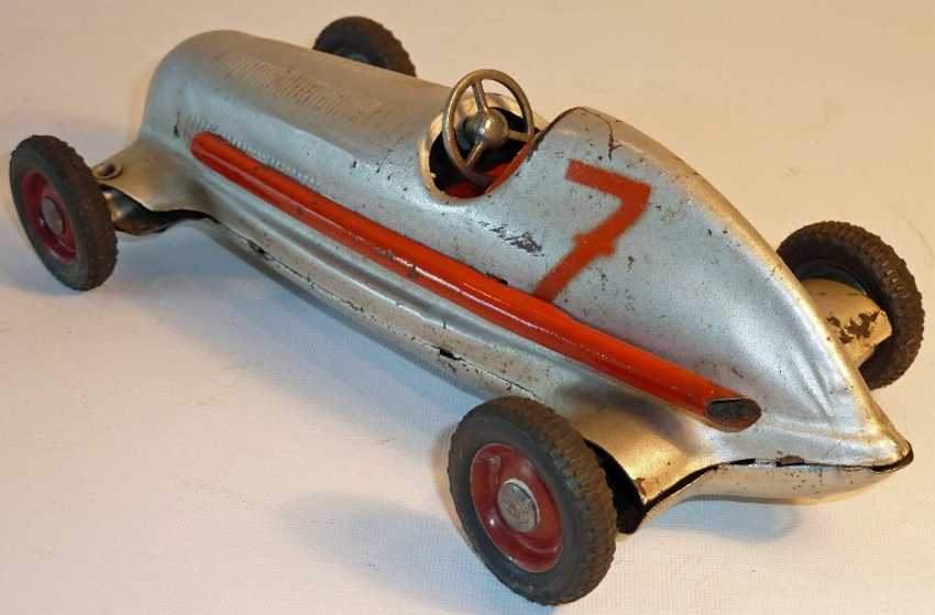 stella tin toy race car sheet metal, rubber tyre, clockwork drive, functioning steer