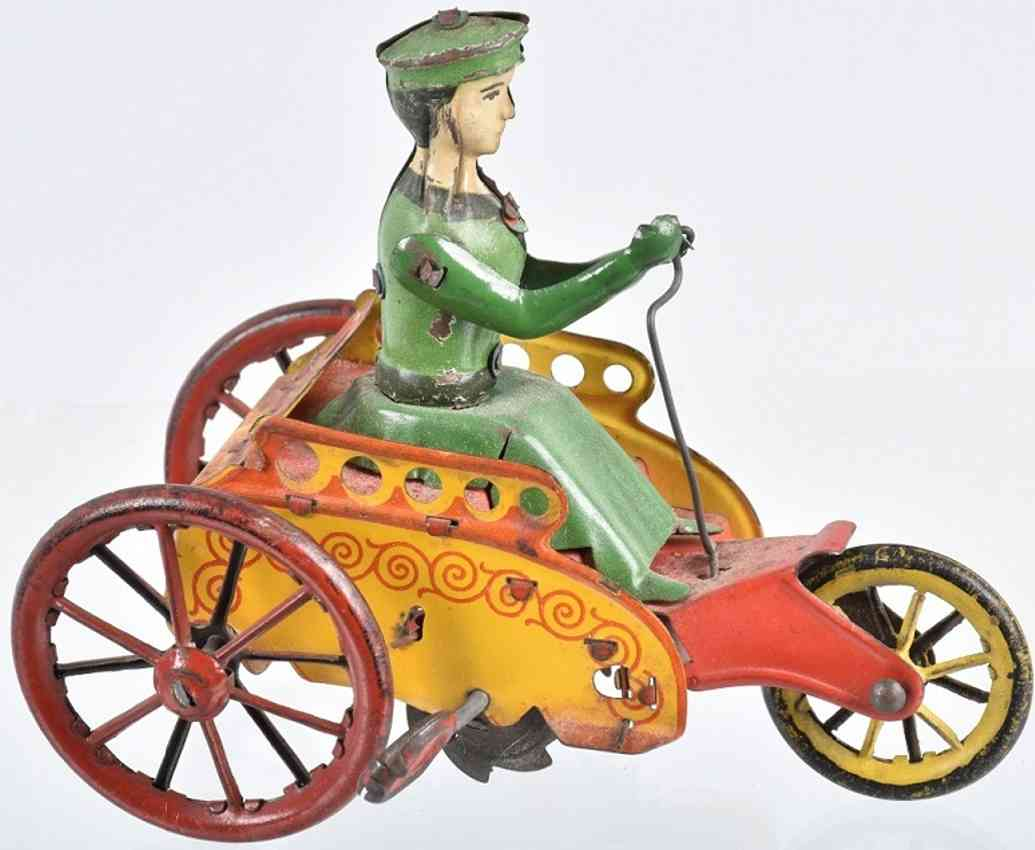 stock walter 145 tin toy car beatrix 3-wheel vehicle green