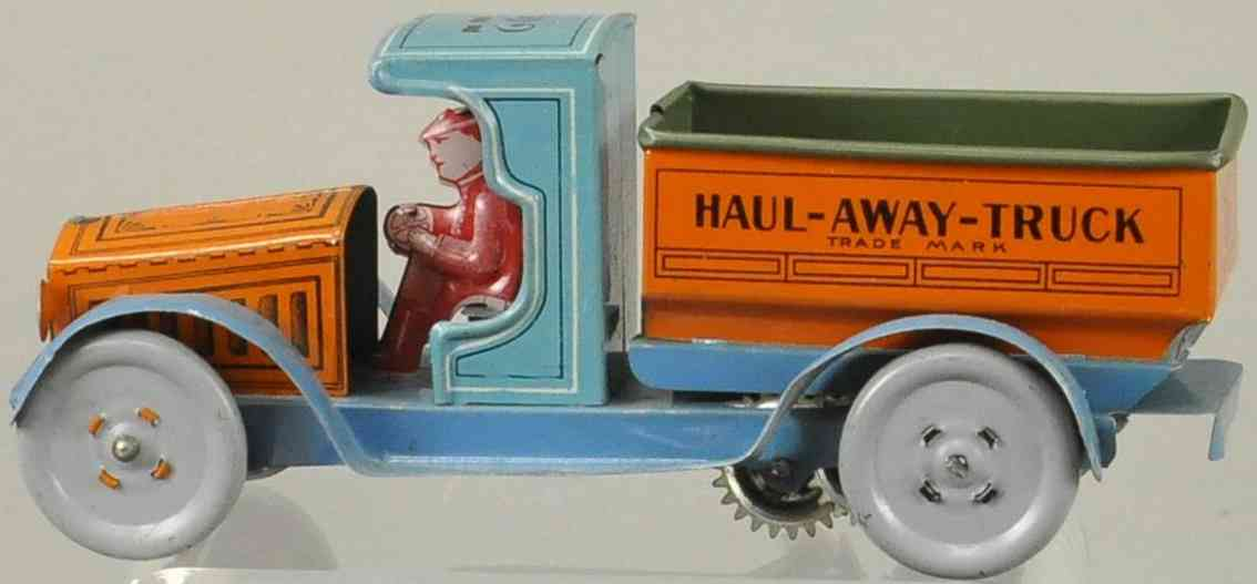 strauss ferdinand 22 tin toy truck haul-away-dump-truck