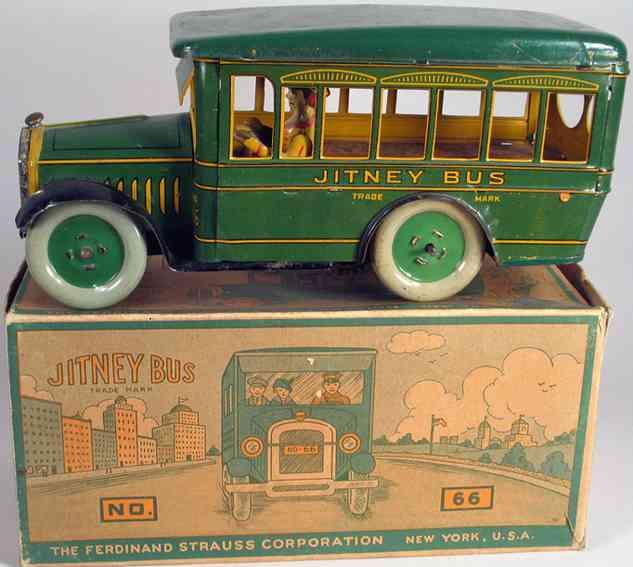 strauss 66 tin toy jitney bus with driver