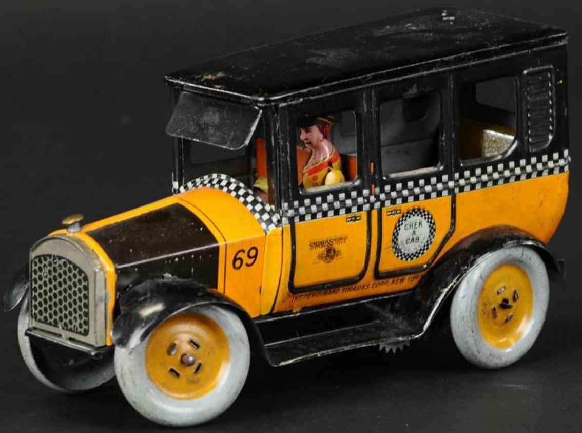 strauss 69 blech spielzeug taxi schwarz orange uhrwerk