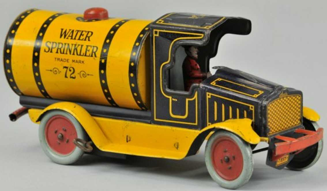 strauss 72 tin toy truck water sprinkler truck yellow blue