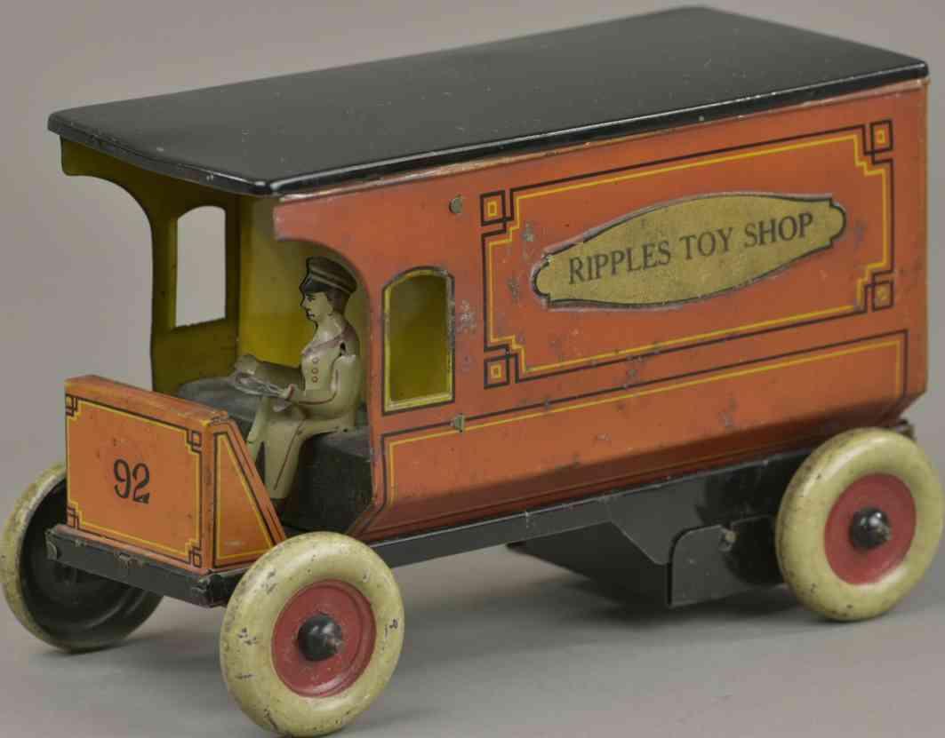 strauss ferdinand 92 blech spielzeug lieferwagen ripples toy shop orange schwarz