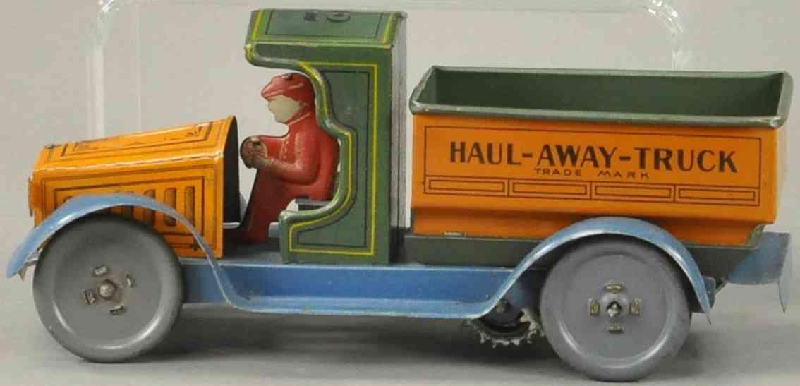 strauss ferdinand 22 blech spielzeug lastwagen haul-away-dump-truck