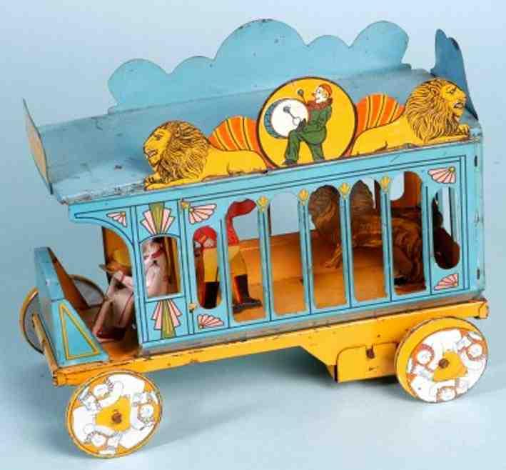 strauss 93 tin toy circus cage wagon lion tamer