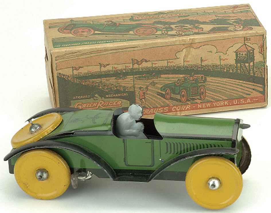 strauss ferdinand blech spielzeug rennauto grüner rennwagen, lithographiert mit uhrwerk, fahrer und gel