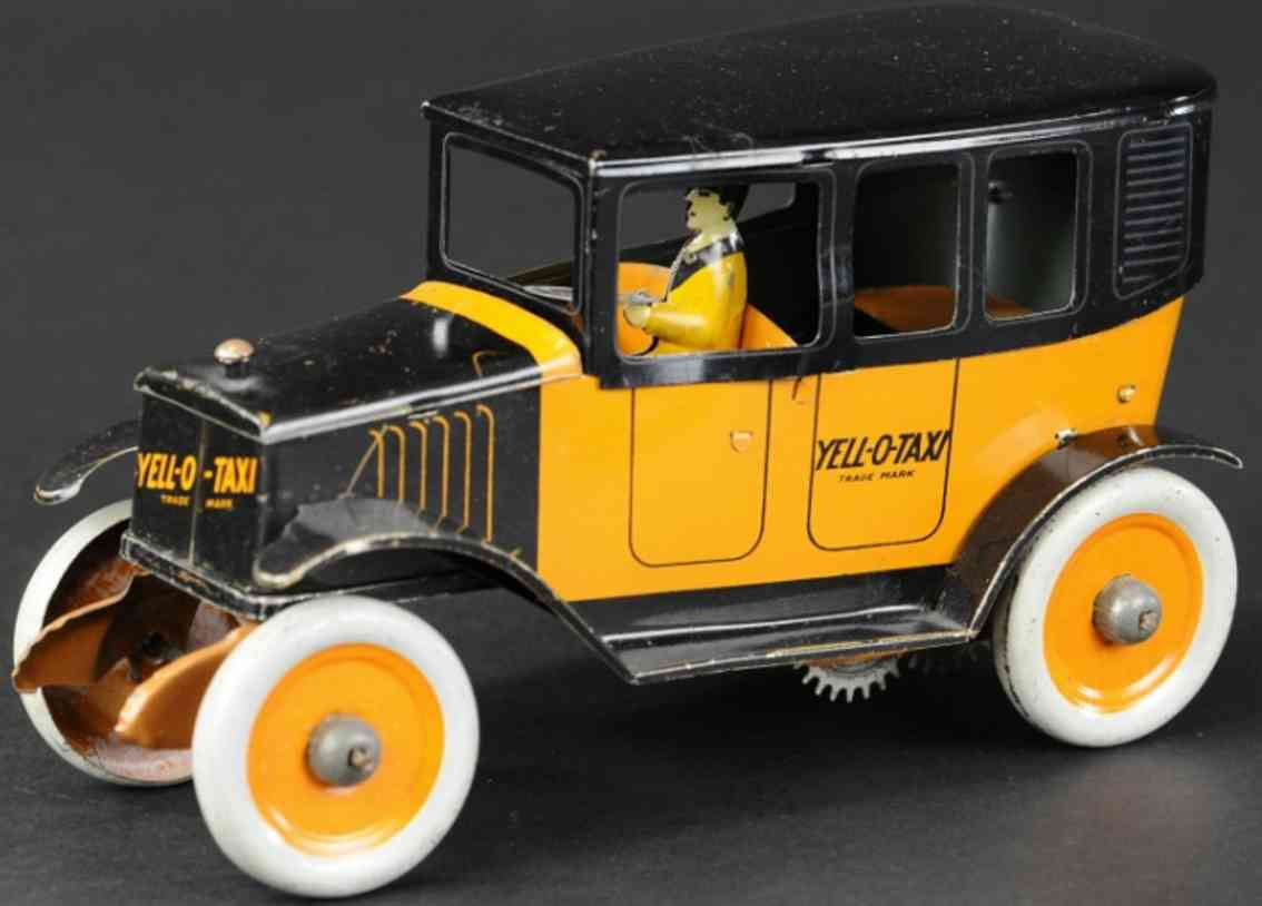 strauss tin toy car yell-o-taxi
