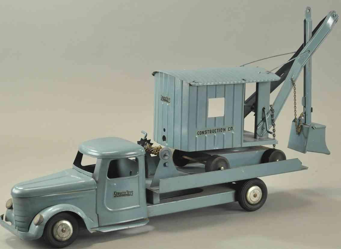 structo stahlblech spielzeug lastwagen schaufelbagger blau