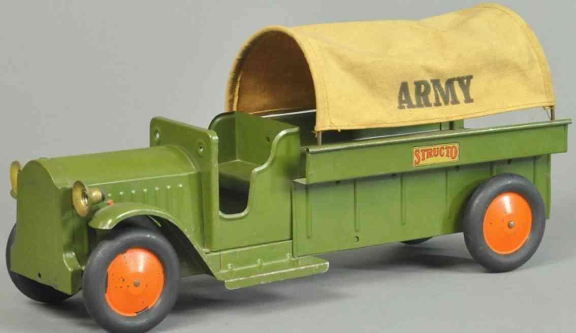 structo blech spielzeug militaerlastwagen olive plane