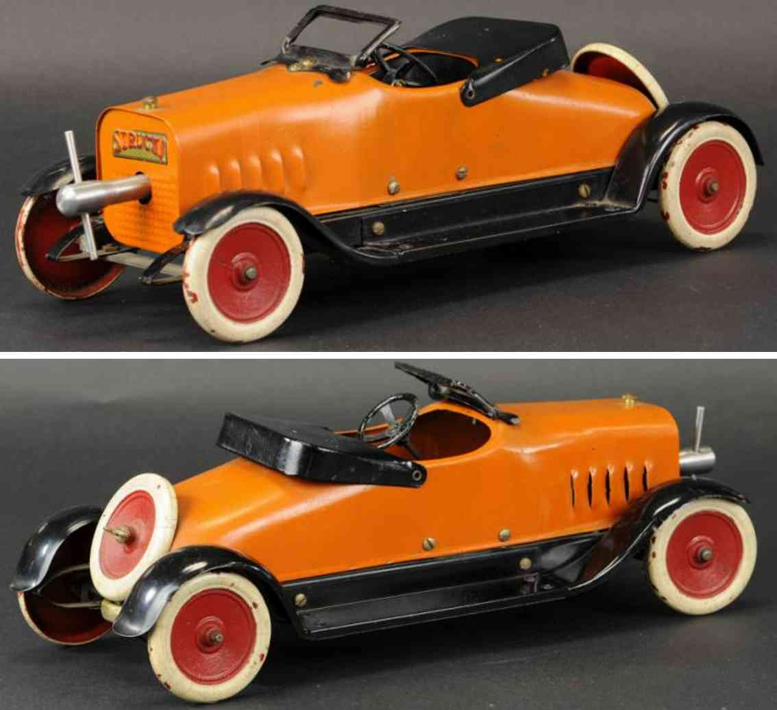 structo pressed stell toy car deluxe auto builder series orange
