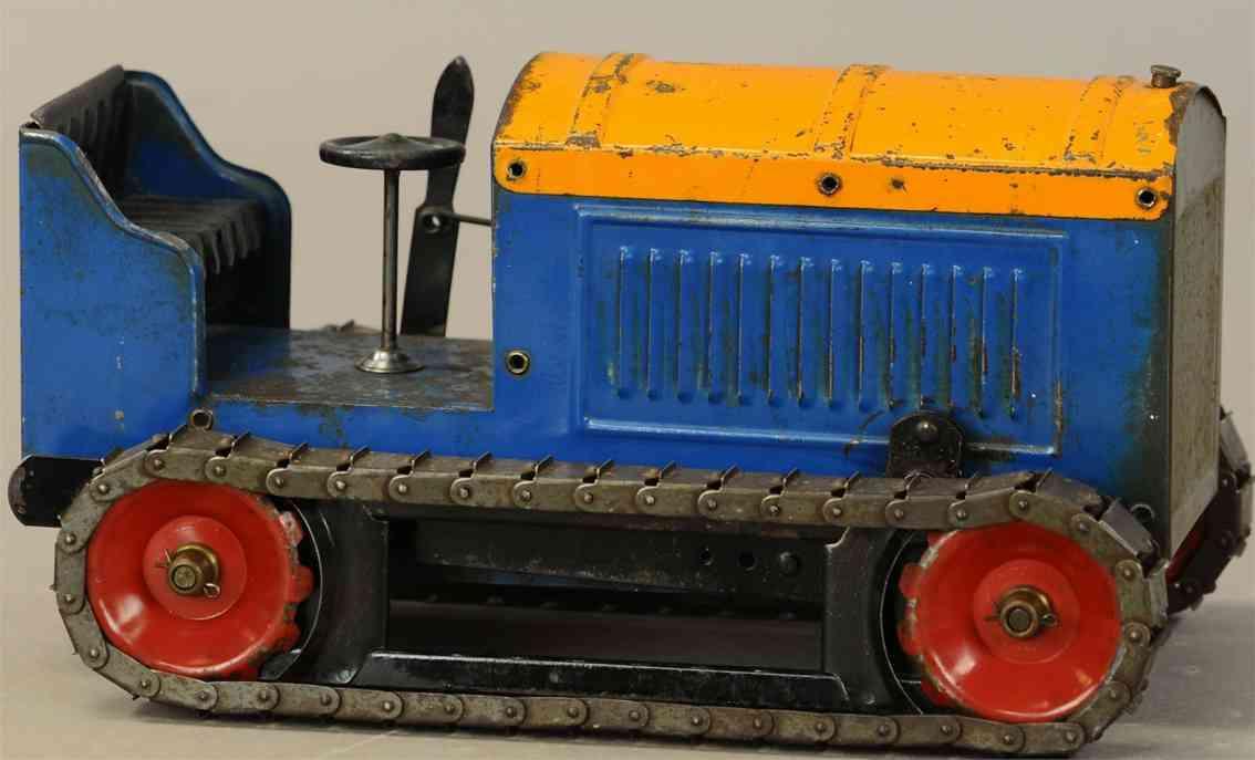 structo spielzeug raupentraktor stahlblech uhrwerk blau