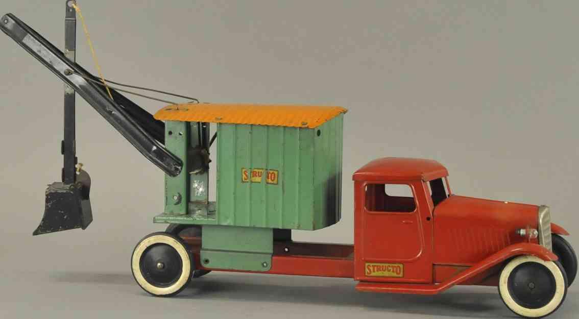 structo blech spielzeug lastwagen bagger rot gruen