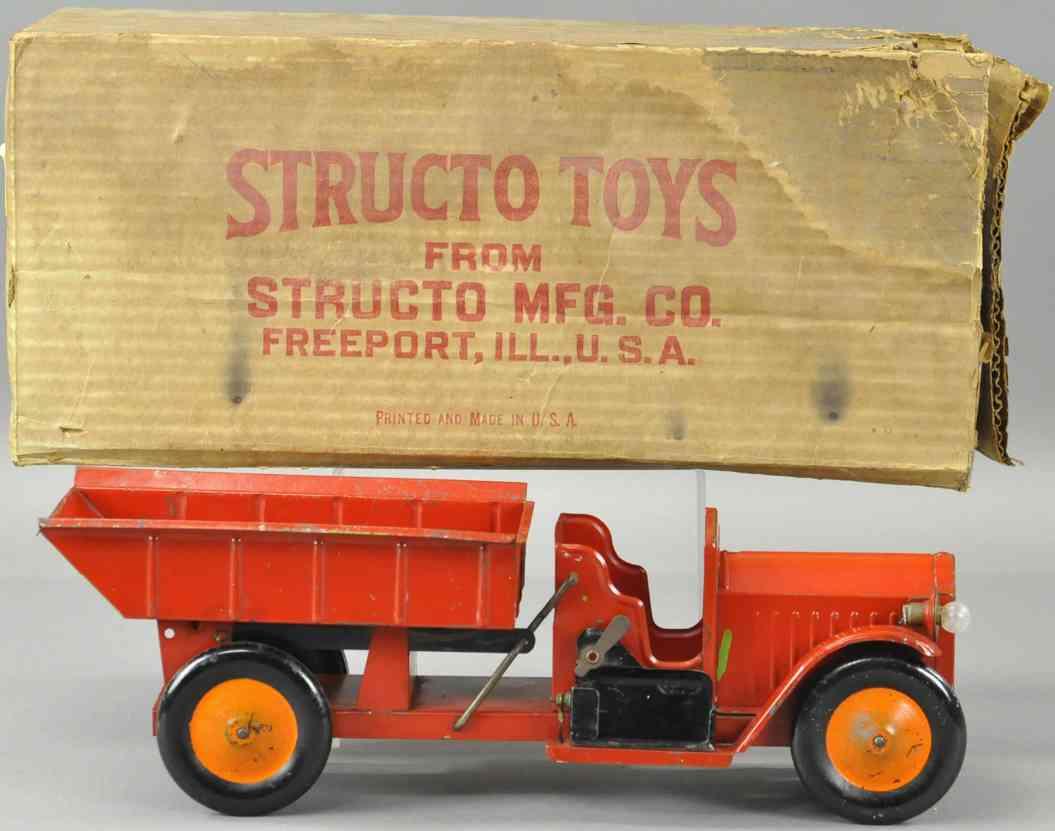 structo blech spielzeug kipplastwagen elektrische lampen rot