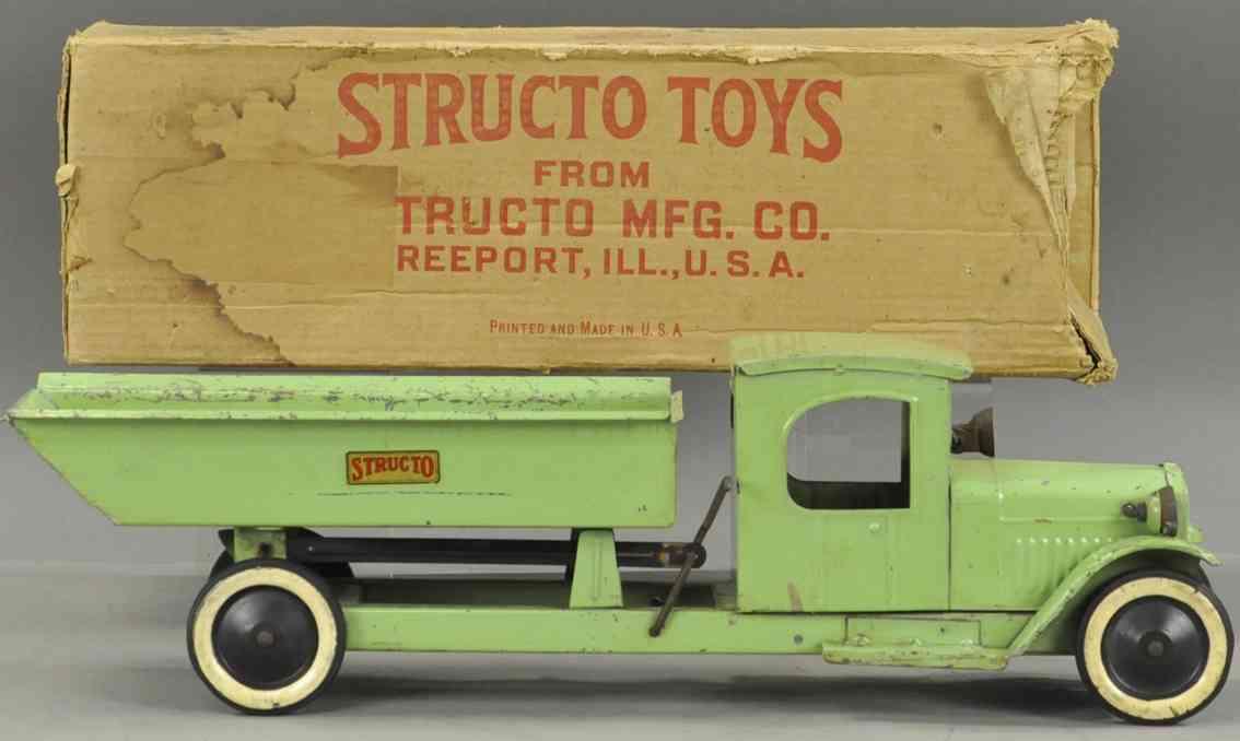 structo tin toy dump truck green