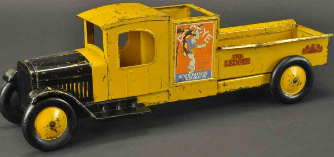 structo spielzeug evening ledger popey lastwagen stahlblech gelb