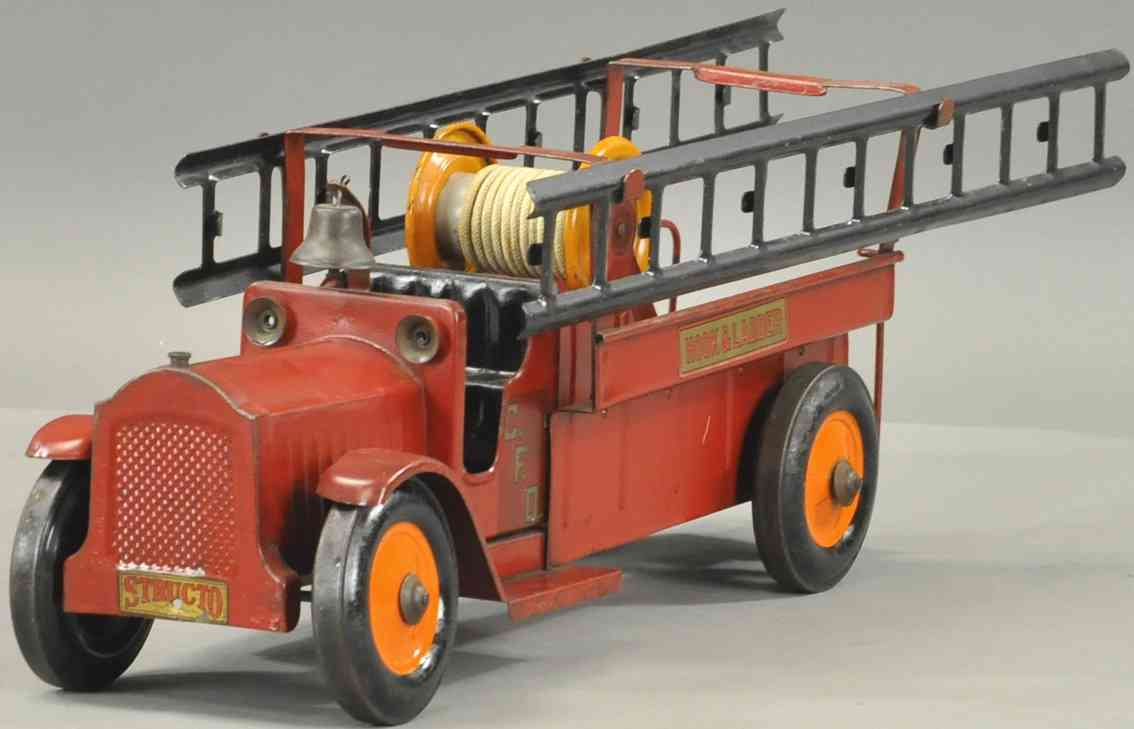 structo steel toy fire engine hook and ladder truck