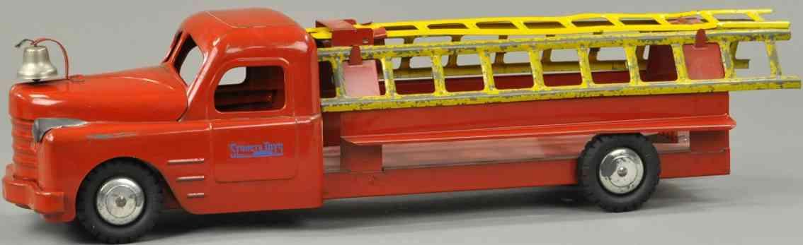 structo stahlblech spielzeug feuerwehrleiterwagen rot gelb