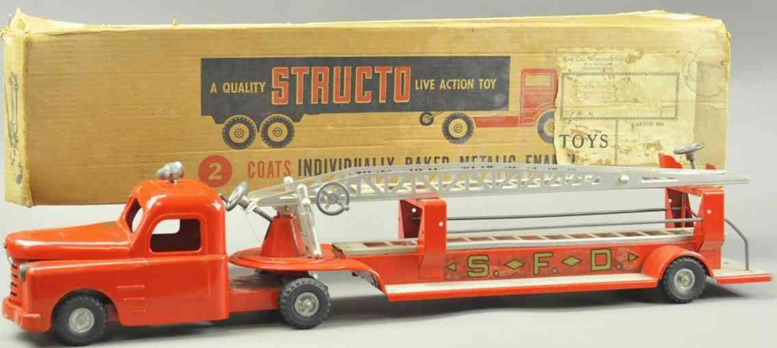 structo structo Ladder 33 blech spielzeug feuerwehrleiterwagen rot nickel