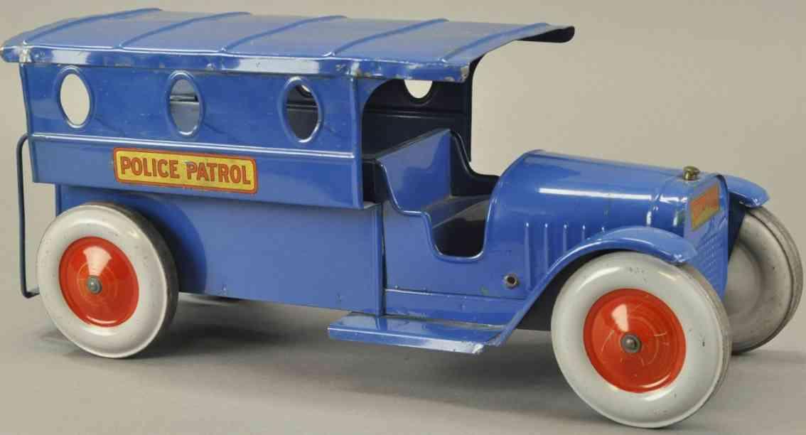 structo stahlblech spielzeug polizeilastwagen blau