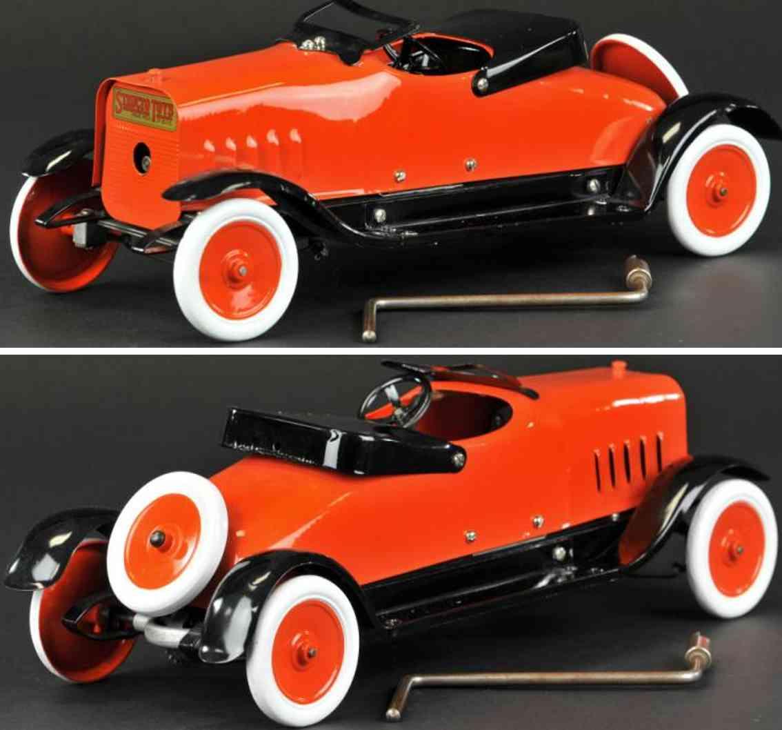 structo stahlblech spielzeug auto sportwagen rot schwarz uhrwerk