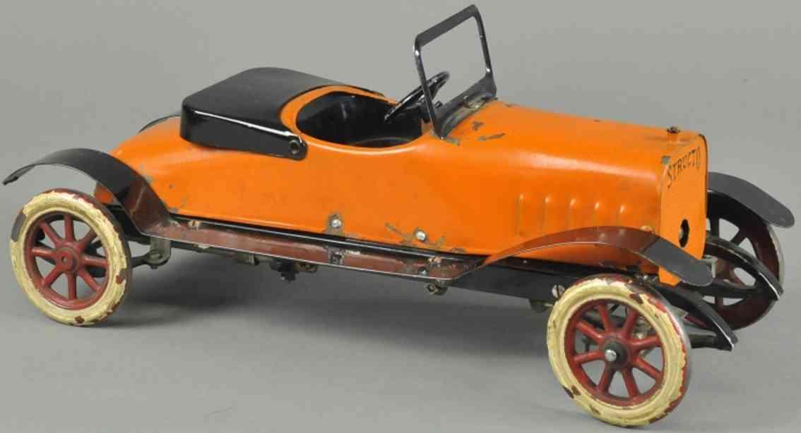 structo spielzeug auto roadster stahlblech orange uhrwerk