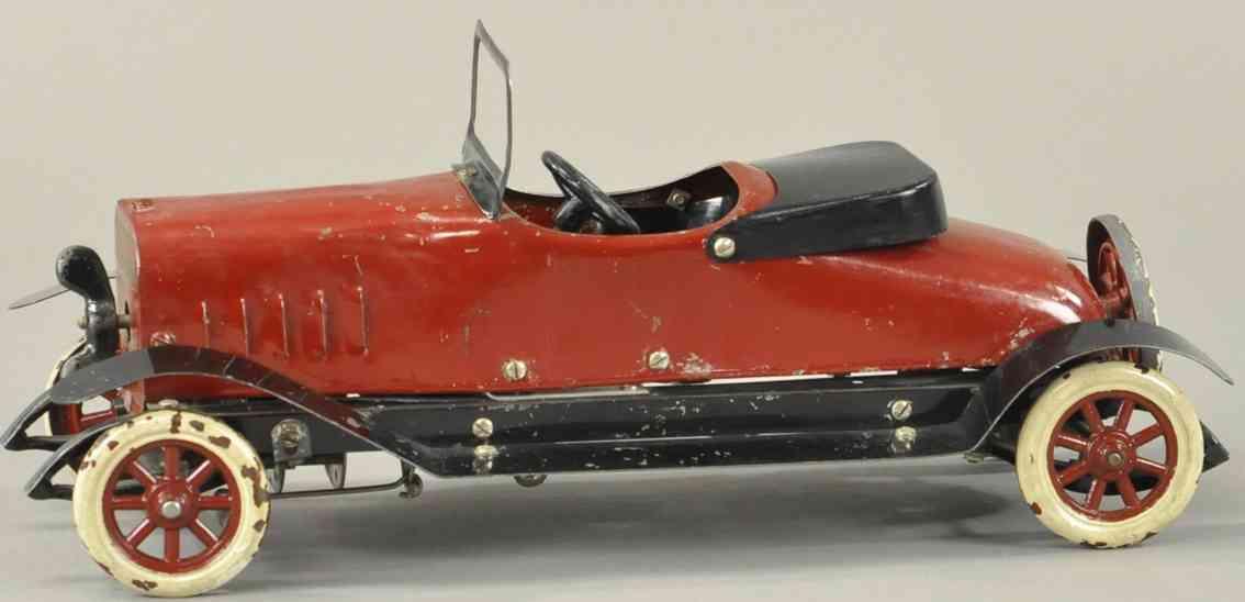 structo spielzeug auto roadster stahlblech rot uhrwerk