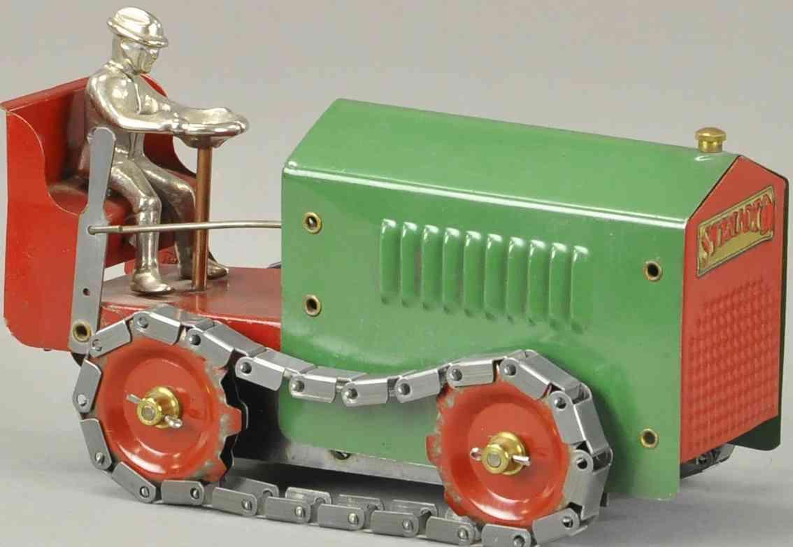 structo blech spielzeug kriechender traktor fahrerfigur gusseisen rot gruen