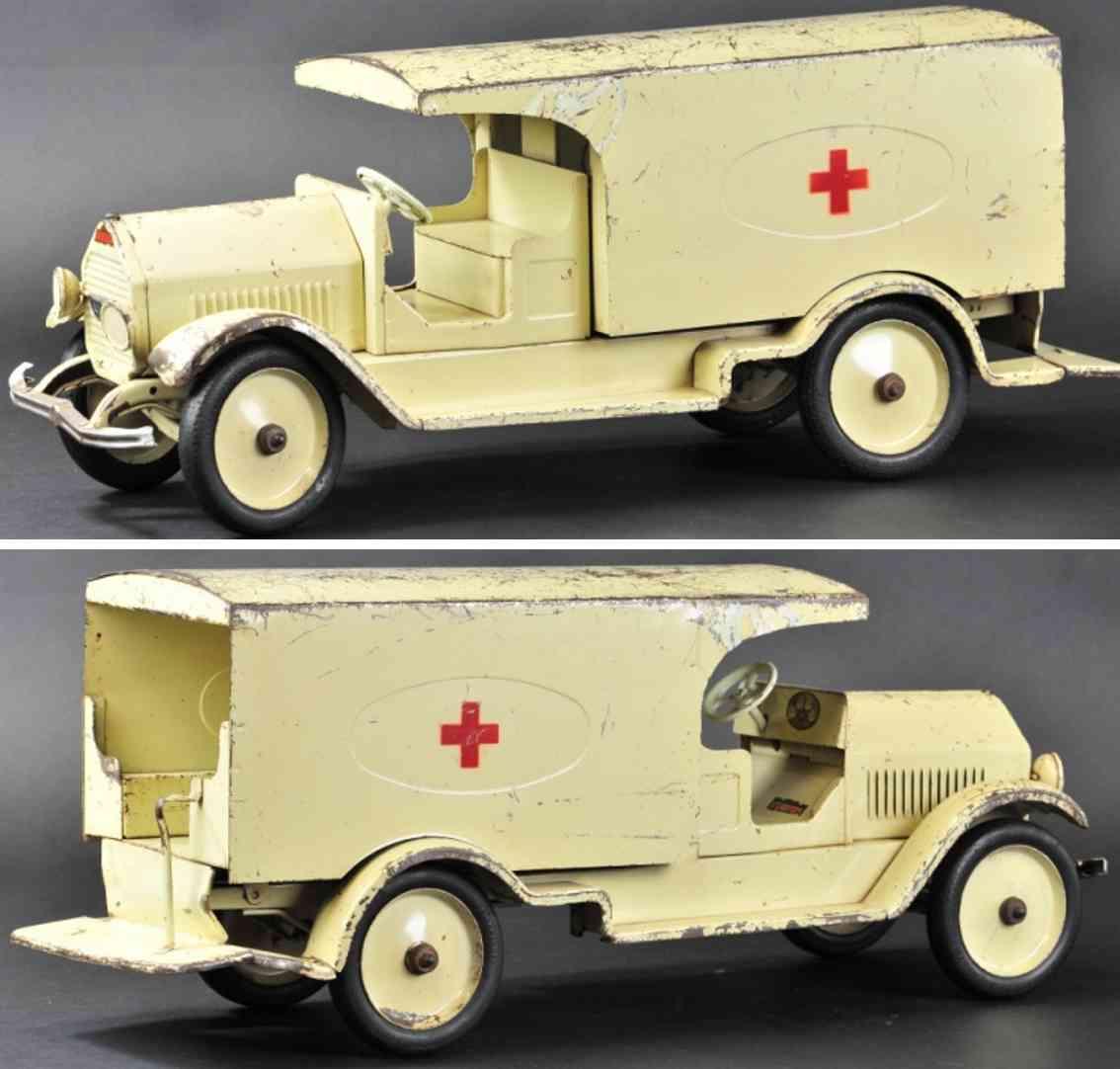 sturditoy stahlblech spielzeug krankenwagen weiß rotes kreuz