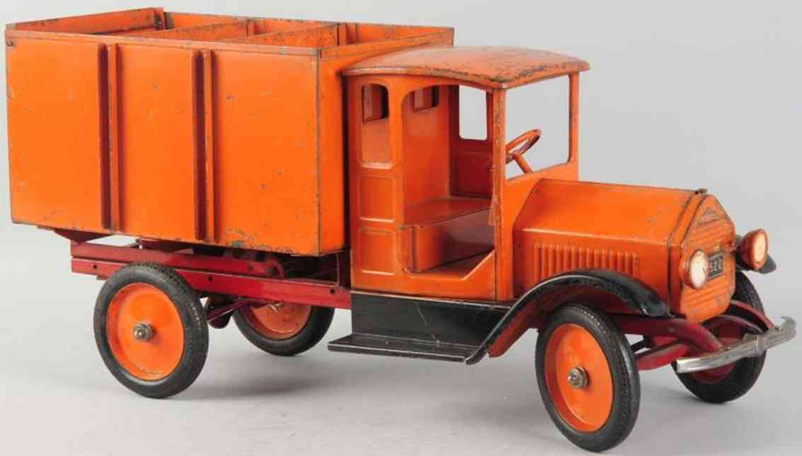 sturditoy pressed steel coal truck toy in orange