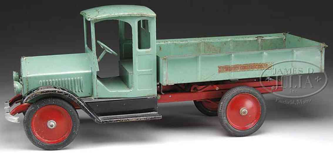 sturditoy pressed steel toy dump truck   peacock green
